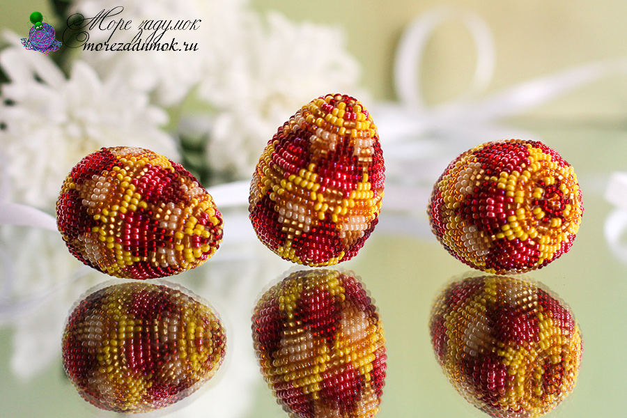 пасхальные яйца оплетенные бисером