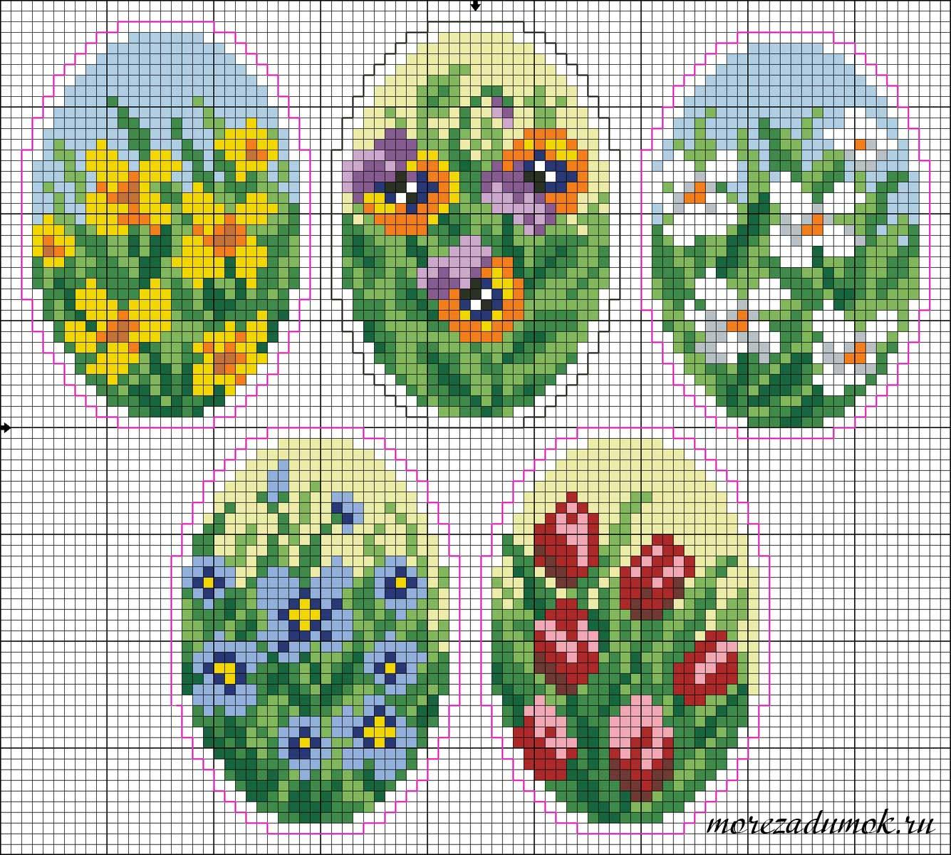 Схема оплетения пасхальных яиц