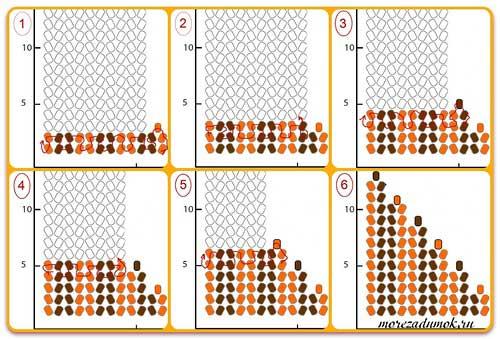 Схема плетения уголка бисером